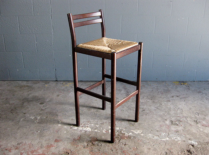 Wooden Bar Stool With Woven Seat In Brown Artappelartappel