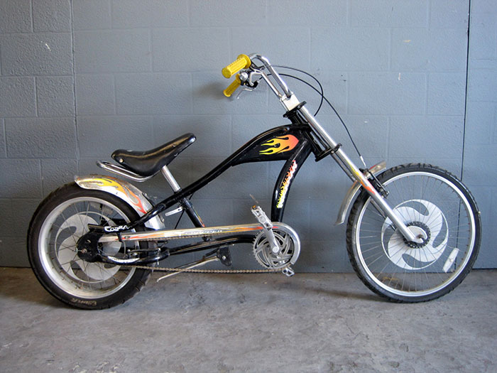 Chopper Style Bicycle With Flames In Black Artappelartappel