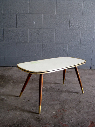 50s Wooden Coffee Table With Green Top