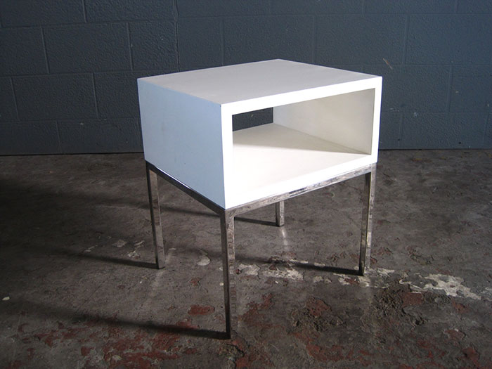 Small Cube Coffee Table.Small Cube Side Table In White And Chrome Artappelartappel