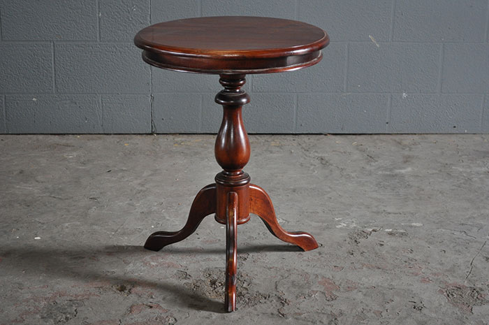 classic round dark wood side table