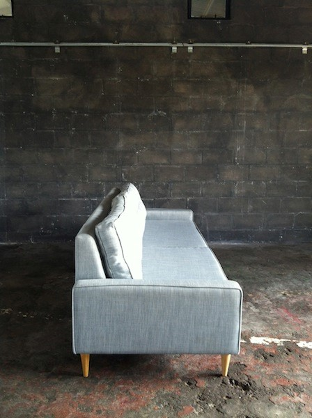 2 Seater Box Couch With Wooden Legs In Light Blue Grey