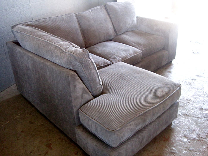 4 Seater Corduroy Couch L Shaped In Grey Artappelartappel