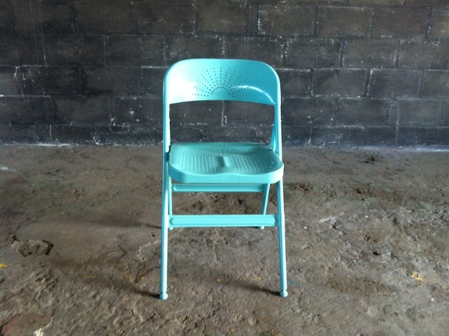Ikea Perforated Metal Folding Chair In Turquoise