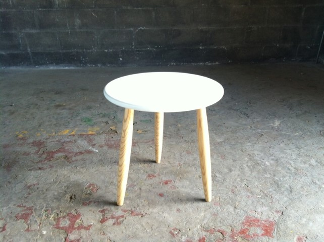 Round Wooden Side Table Pencil Legs With White Top